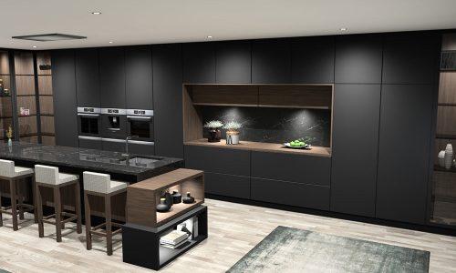 Cozinha lacada preto mate e madeira natural de nogueira